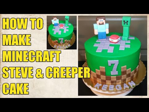 MINECRAFT STEVE AND CREEPER CAKE
