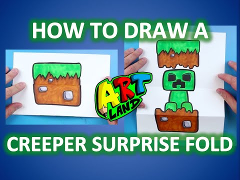 How to Draw a MINECRAFT CREEPER SURPRISE FOLD!!!