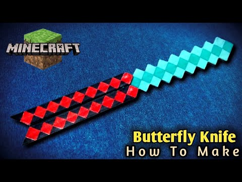 How To Make Butterfly Knife With cardboard | Minecraft Diamond Sword + Butterfly Knife DIY