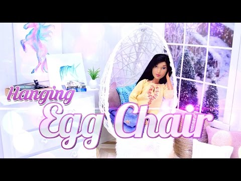 DIY –  How to Make: Hanging Egg Chair – Dollhouse Decor – Doll Crafts – 4K