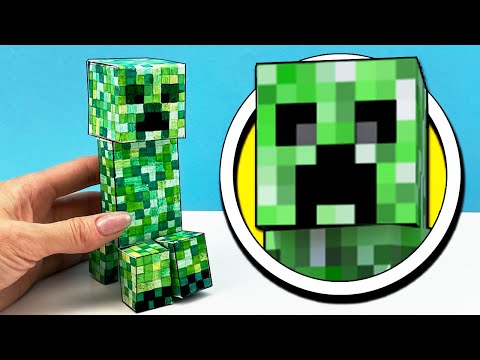 CREEPER toy from the game MINECRAFT made of cardboard ➤How To Make of DIY. Tutorial from Cool Crafts