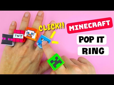 How to Make Origami MINECRAFT POP IT RING | Easy Origami Ring Fidget Toy